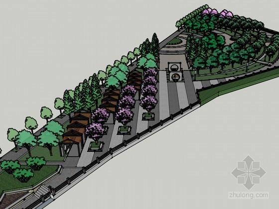 街心公园SketchUp模型下载