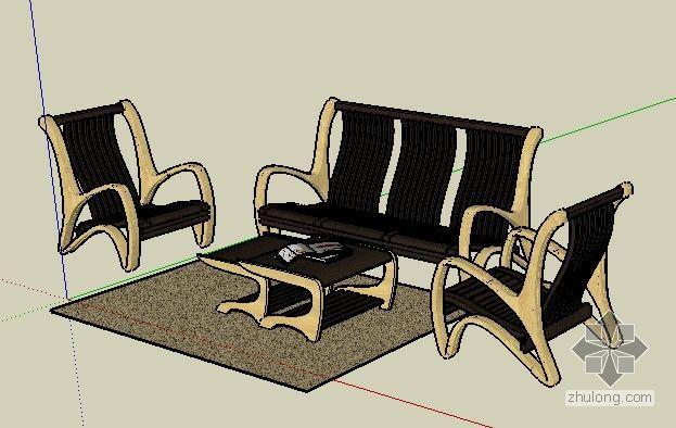 草图大师欧式浮雕模型下载资料下载-联邦沙发 草图大师模型