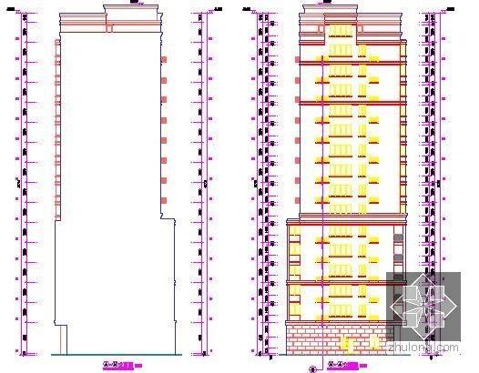 [浙江]2栋住宅楼(含地下室)建筑工程量计算及预算书(含施工图纸)-立面图