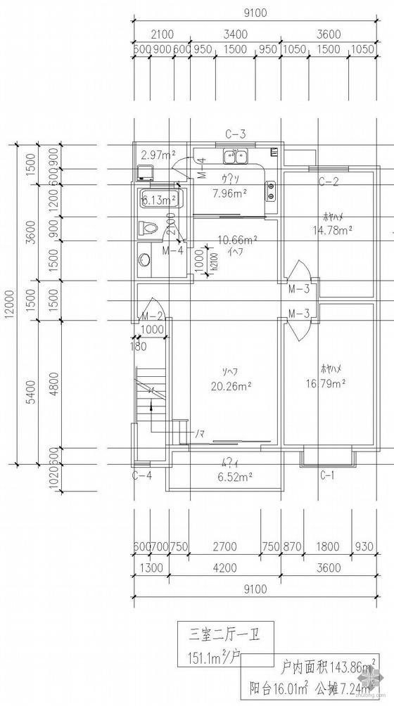 复式一梯二户三室二厅一卫户型图(150/150)