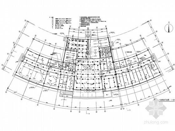 某中心医院康复中心及老干部病房楼电气施工图纸-一层照明平面图