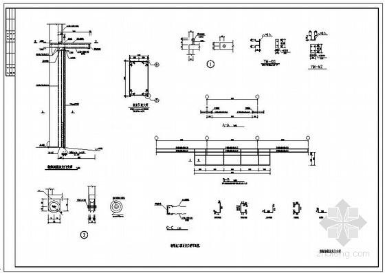 某轻钢雨篷及大门大样节点构造详图