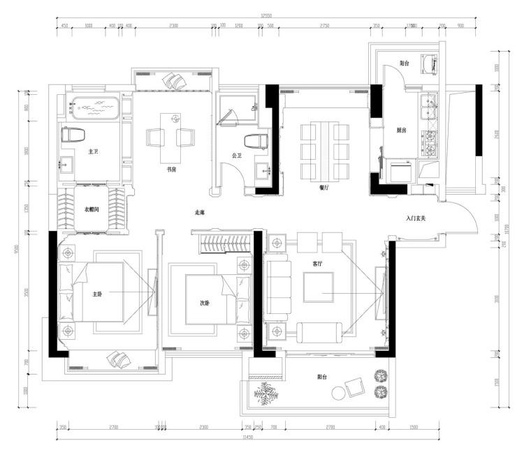 美式古典主义风格住宅施工图设计(附3D模型+效果图)