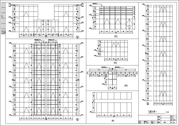 现代高层宾馆酒店建筑设计施工图CAD-现代多层酒店建筑设计门窗大样
