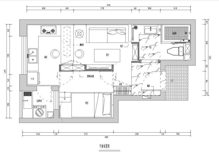 好旺星天地样板房室内施工图设计(CAD+实景图)-住宅装修-土木资料网