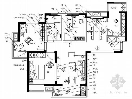 [江苏]简约美式风格三居室室内装修施工图(含效果)