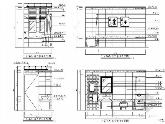 [苏州]风景秀丽生态园区A2型欧式风情三层别墅装修施工图客房立面图