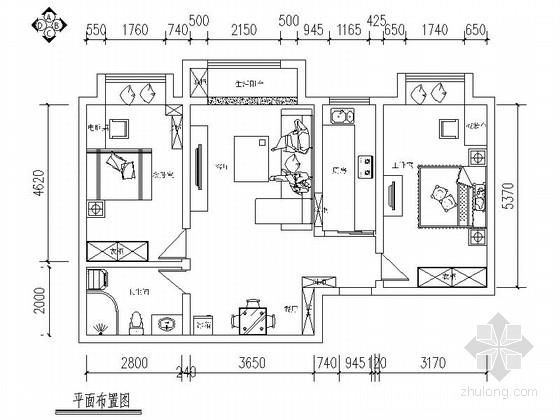 清新地中海风格两居室CAD装修图(含效果)