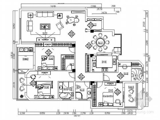 [江苏]原创异域风情新中式风格四居室室内装修施工图(含效果)