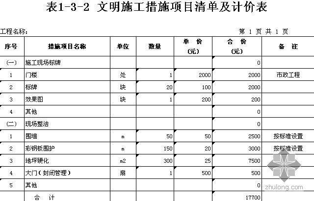 杭州某市政工程(路、桥)清单计价实例