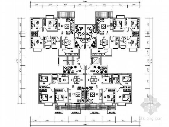 某高层住宅一梯四带入户花园户型平面图(99、91平方米)
