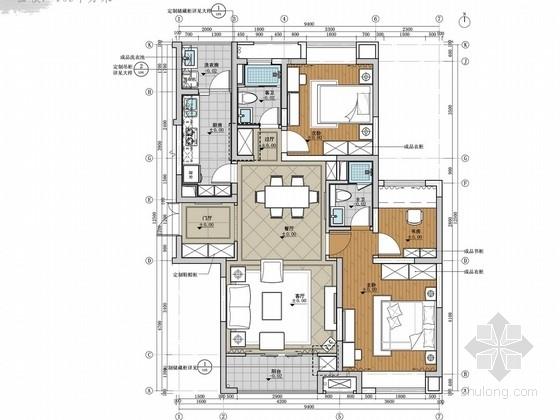 [上海]知名房地产简欧风格样板间室内设计方案