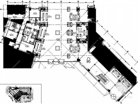 [上海]综合性五星级酒店大堂及大堂吧装修施工图(含效果)