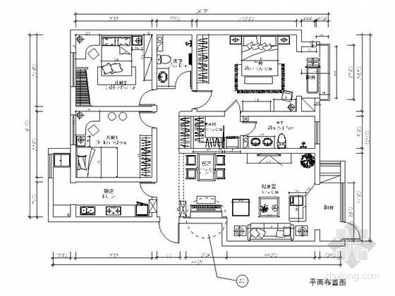 [学生作品]时尚新中式三居室装修图(含效果)