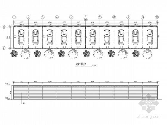单层钢框架停车棚结构施工图