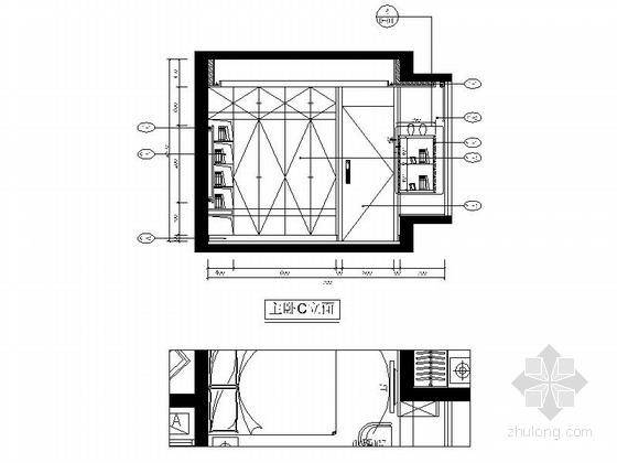 自然现代风格两居室样板房装修图(含效果)主卧立面图
