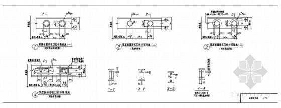 某梁腹板圆形孔口的补强措施节点构造详图