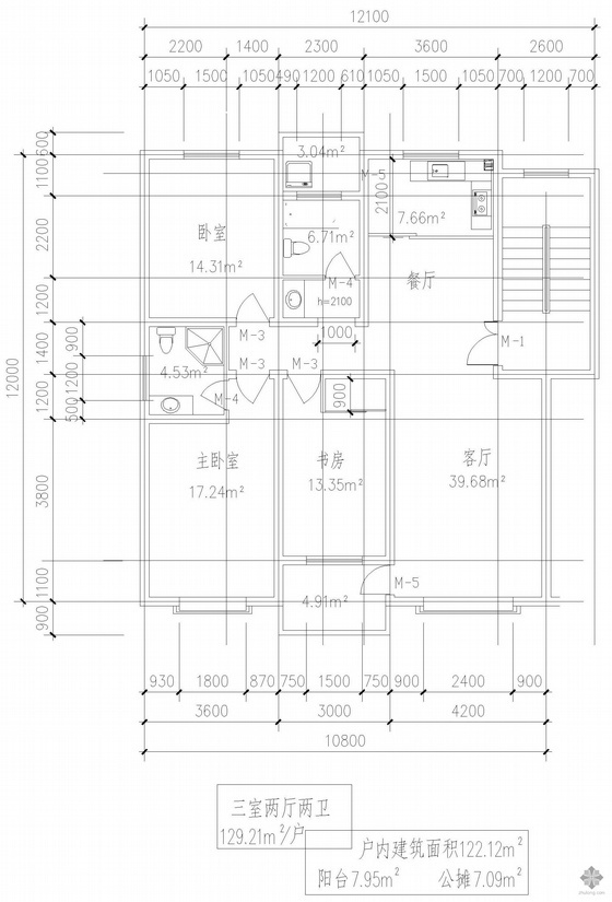 板式多层一梯二户三室二厅一卫户型图(129/129)