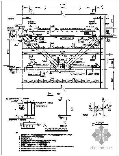 某加强层钢结构桁架大样节点构造详图(三)
