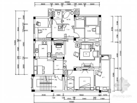 [精品]浪漫情怀田园风格三居室样板间CAD装修施工图(含效果)