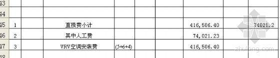 北京某工程VRV空调概算书