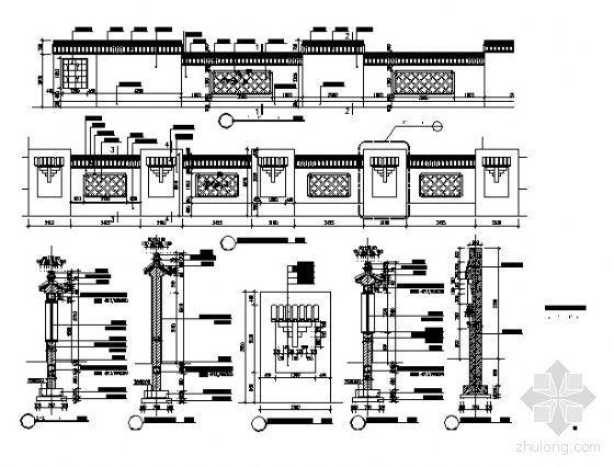苏州特色围墙建筑施工图