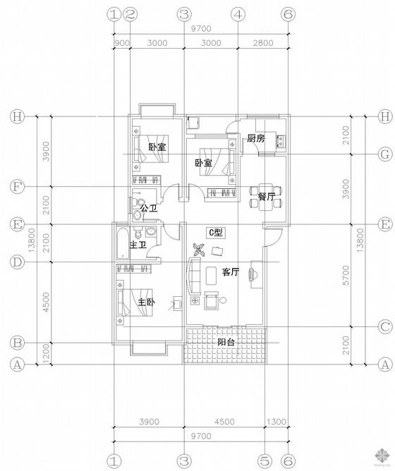 板式多层单户三室一厅二卫户型图(118)