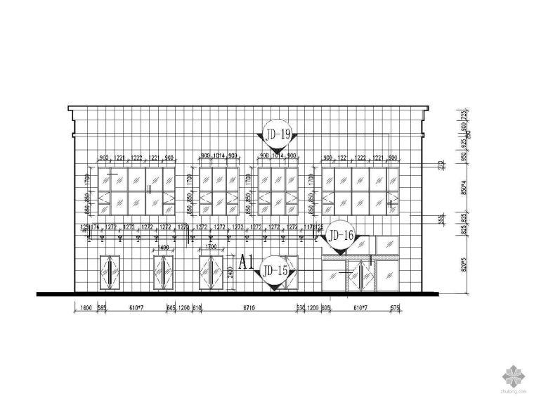 [武汉]某商住楼裙楼明框玻璃幕墙建筑施工图