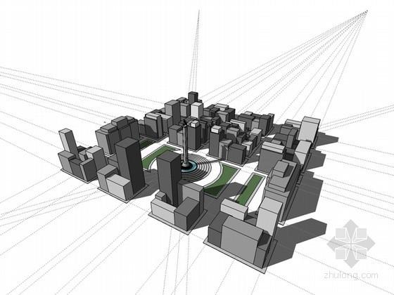 建筑群及城市广场SketchUp模型下载