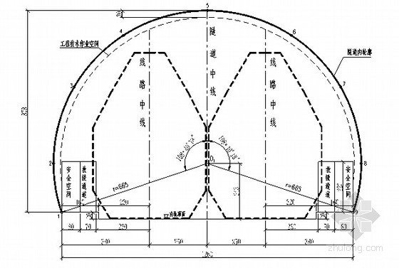 双线大纲建筑隧道及衬砌内限界图建筑设计轮廓怎么写图片