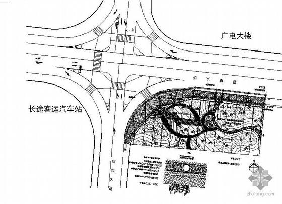 某省会城市街头绿地施工图全套