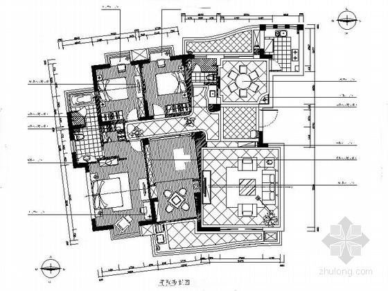 [浙江]新古典风格四居室住宅样板房设计CAD施工图