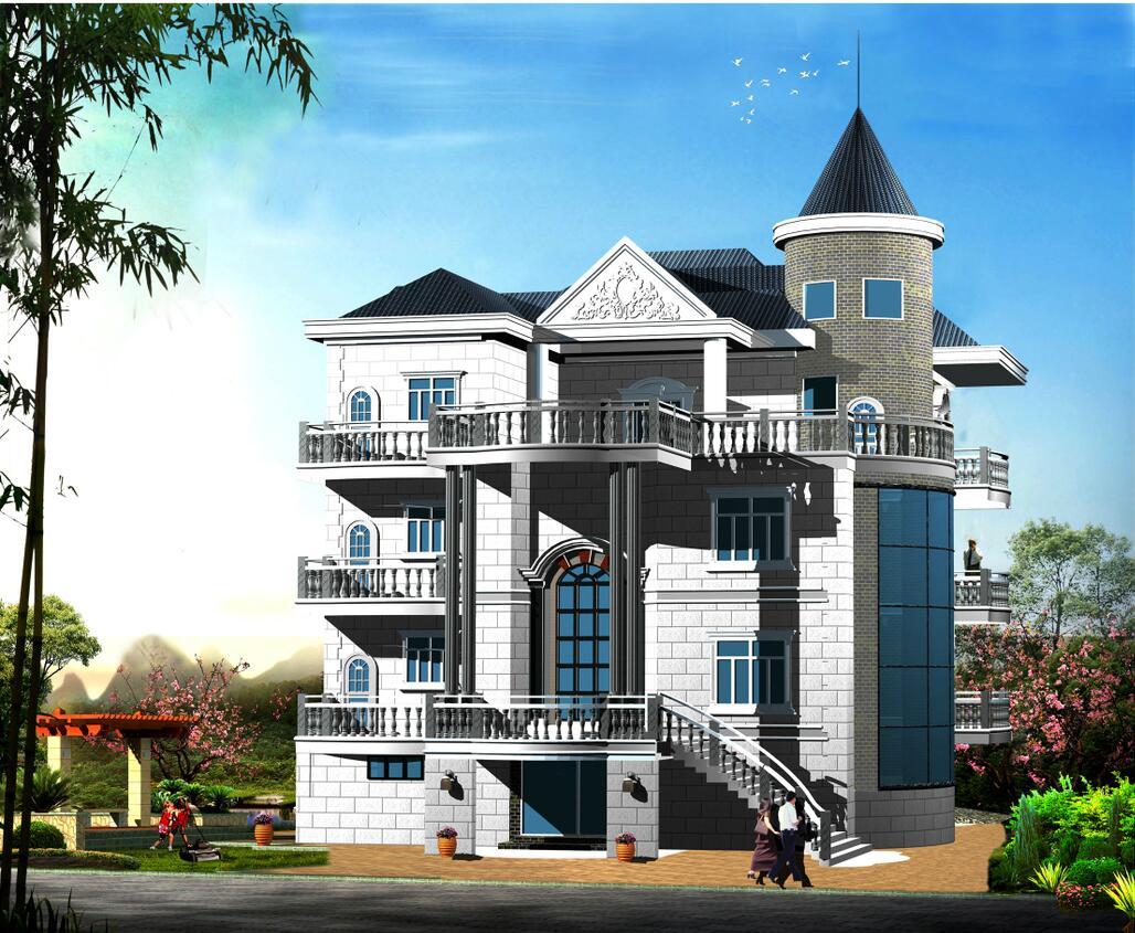 三层带别墅复古独栋广场建筑设计(结构别墅)宝龙阁楼城市框架泰安空中图片
