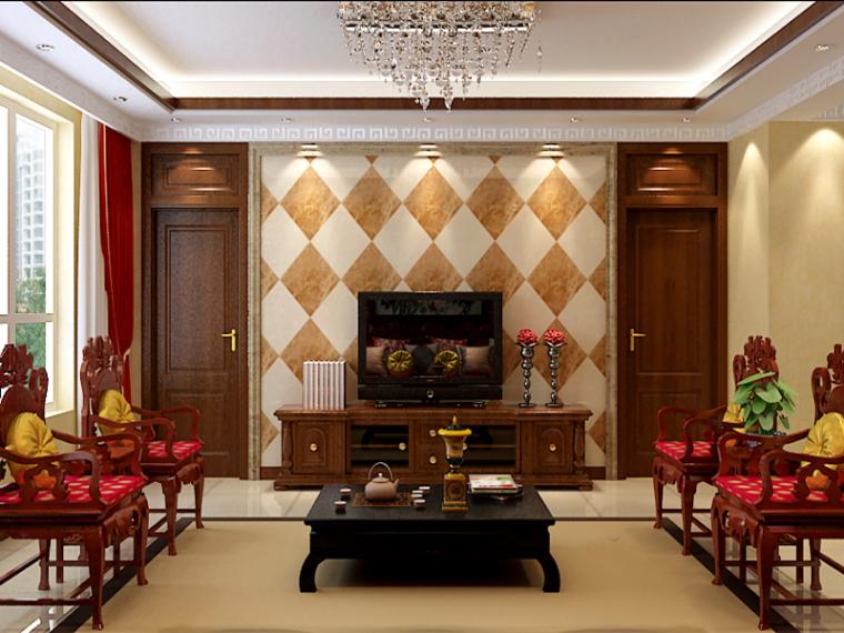 新中式混搭客厅3D模型下载