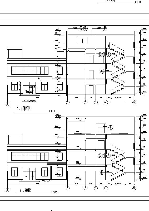5套现代多层宾馆酒店建筑设计施工图CAD-多层宾馆建筑设计剖面图