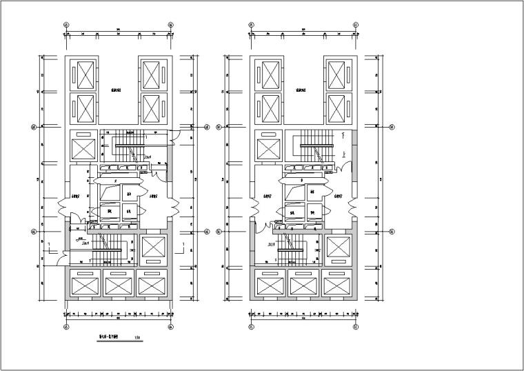 现代高层宾馆酒店建筑设计施工图CAD-现代高层建筑设计核心筒大样图