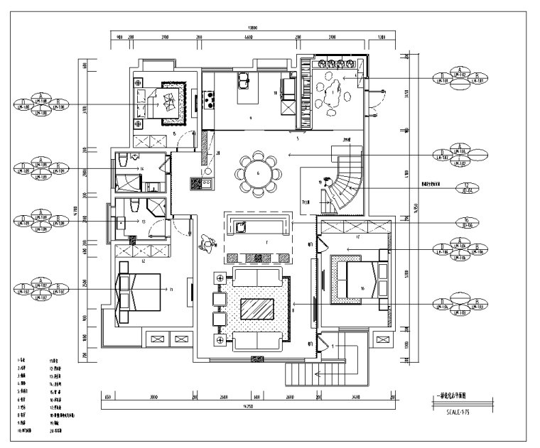 北京某别墅室内装修设计施工图及效果图-平面布置及立面索引图
