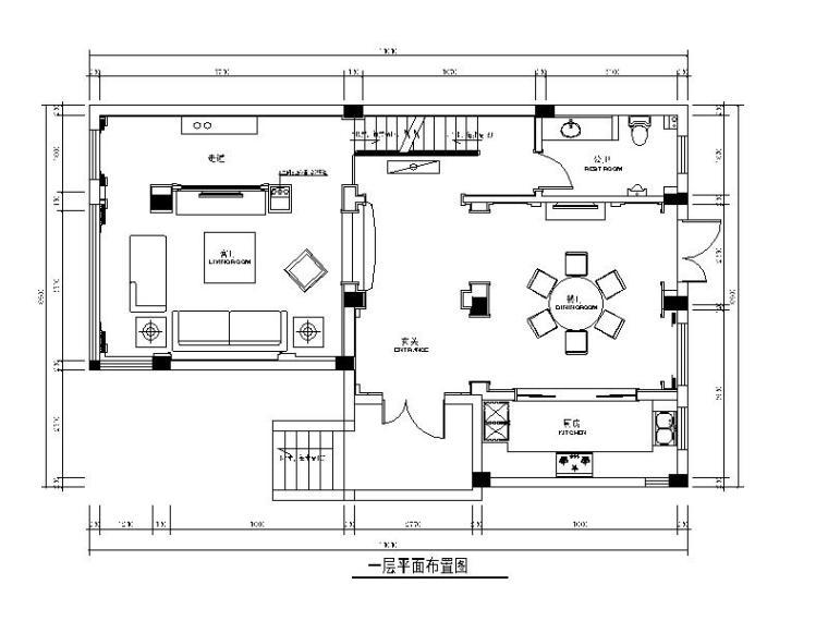 [江苏]欧式风格联排别墅样板房设计cad施工图(含效果图)