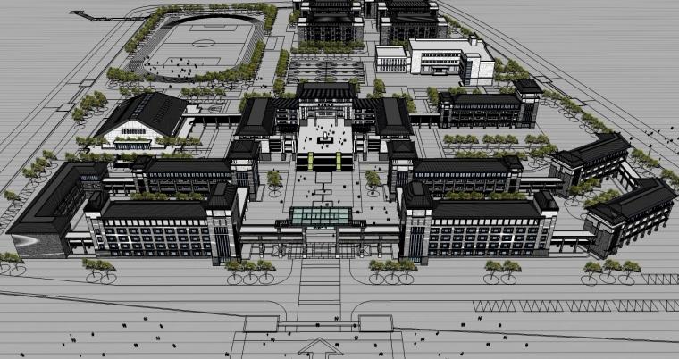中式风格中学建筑设计SU模型_1