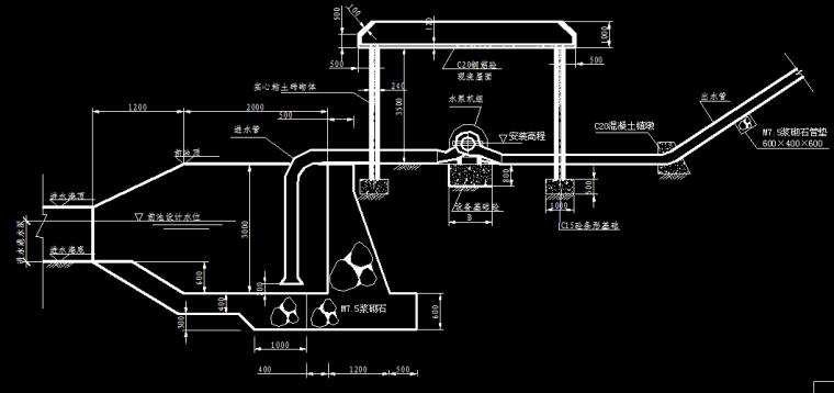 泵房纵平立、剖面图