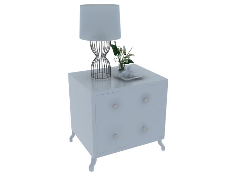 欧式简约床头柜3D模型下载