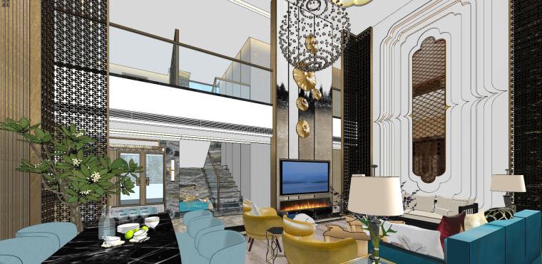 豪华loft室内设计客餐厅模型设计(2018年)-X 15