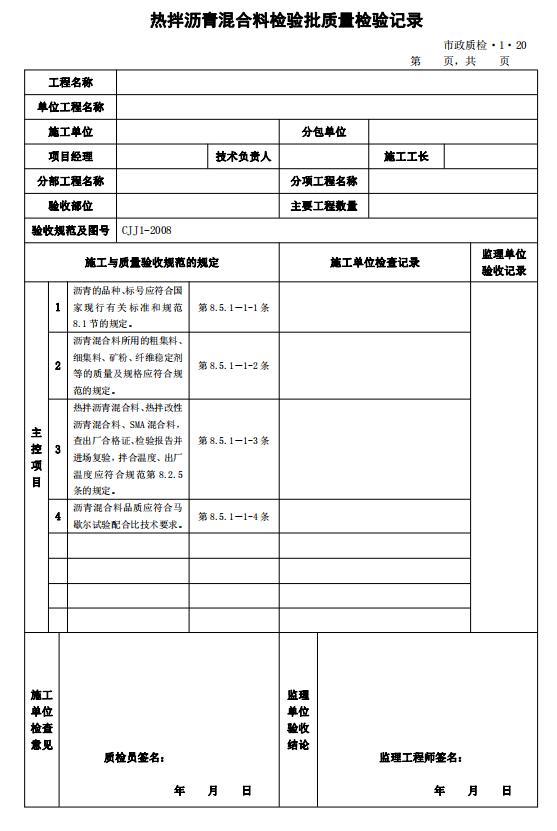 市政道路工程检验批质量检验记录表格全套-热拌沥青混合料检验批质量检验