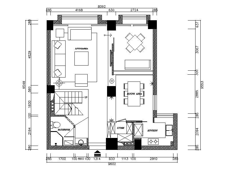 【浙江】现代风格复式楼设计cad施工图(含效果图)平面图图片