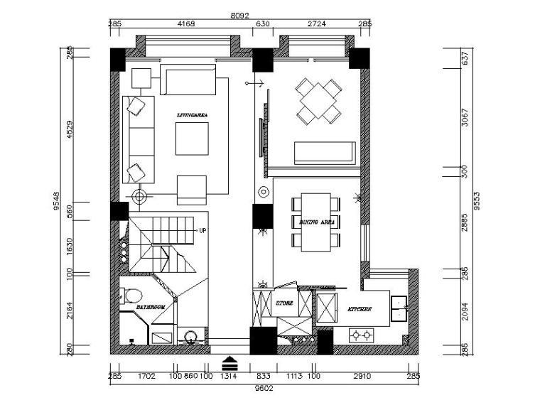 [浙江]现代风格复式楼设计CAD施工图(含效果图)