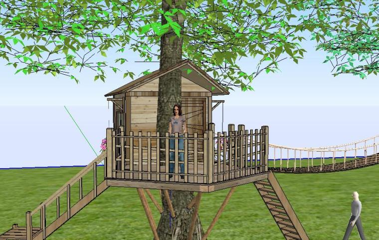 [景观SU模型]树屋景观塔模型.skp