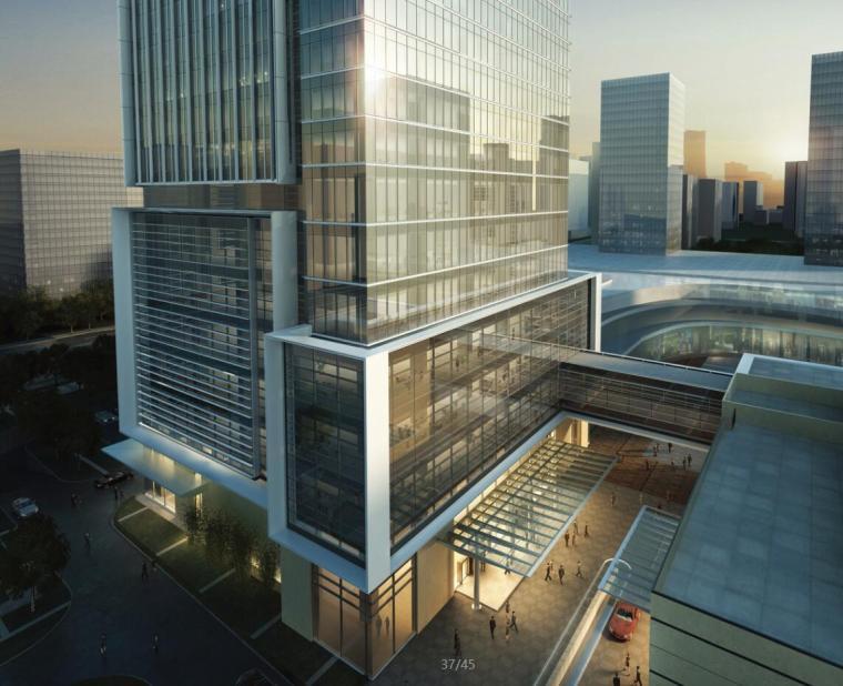 [中国]41层超高层企业办公楼建筑设计方案文本效果图及CAD施工图