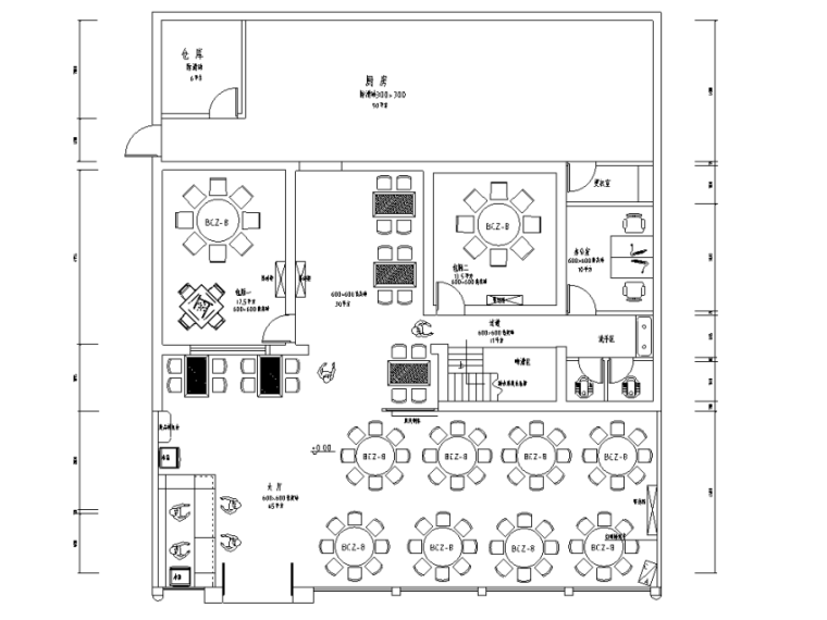 [湖南]中式风格大型中餐厅装修施工图