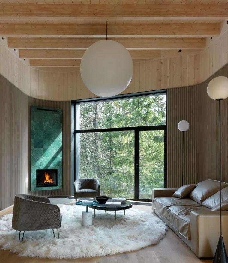 自然原木风+落地窗,这个设计太美了