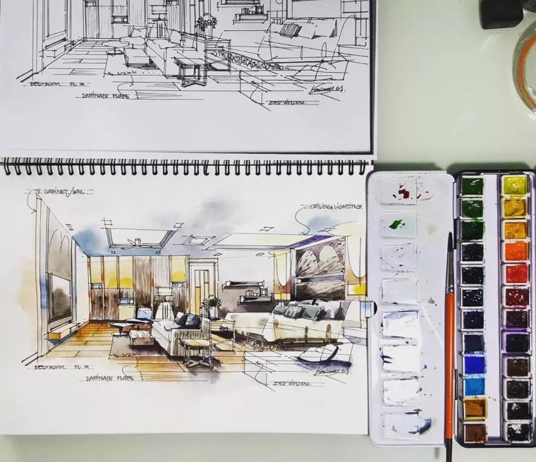 室内手绘水彩技法表现!_19